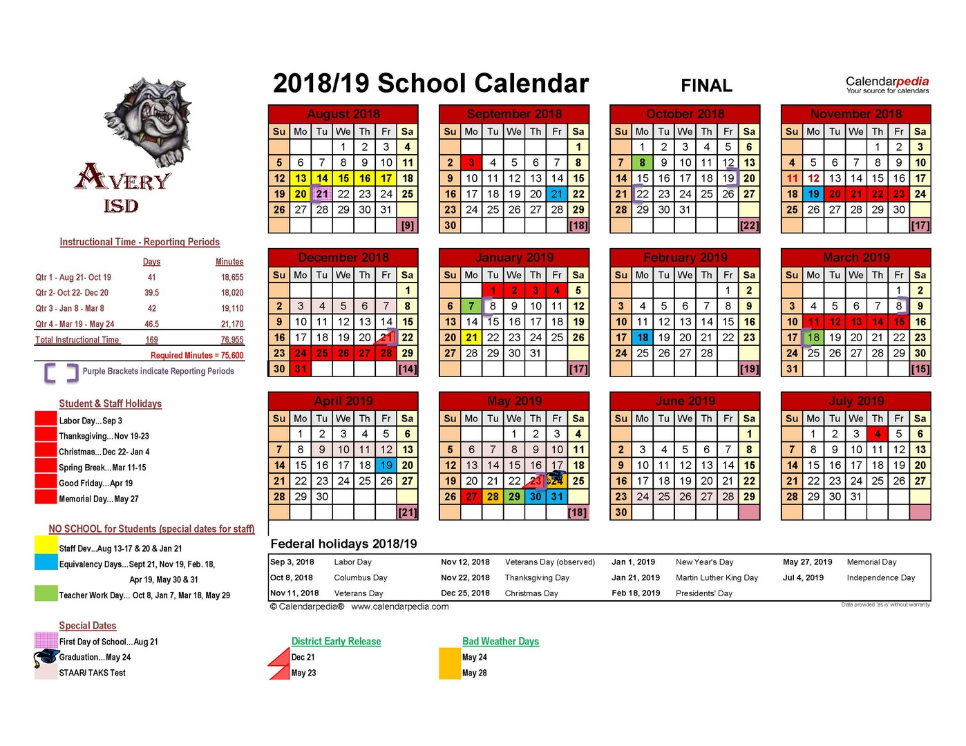 Avery Isd 2018 2019 Avery Isd District Calendar Final